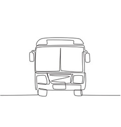 continuous one line drawing front view bus vector image