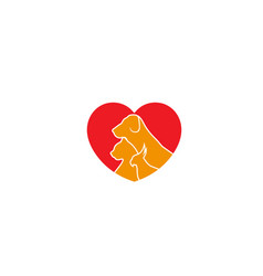 Creative pet love logo design symbol vector