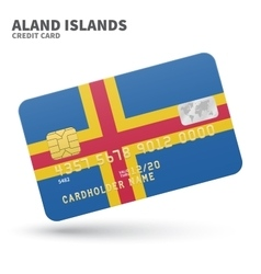 Credit card with Aland Islands flag background for vector image