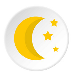 Crescent and star icon flat style vector