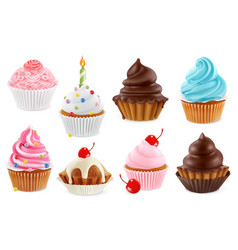 Cupcake fairy cake 3d realistic icon set vector