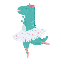 cute dinosaur ballerina dancing kicks in flat vector image