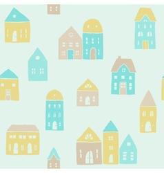 Cute houses pattern vector