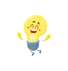 Cute light bulb character with funny face showing vector