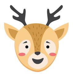 Cute simple animal deer head cartoon wildlife vector