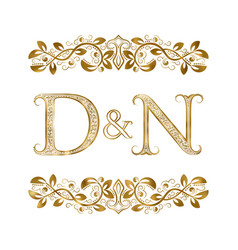 D and n vintage initials logo symbol the letters vector