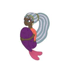 Dark skinned mermaid vector