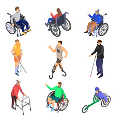 day persons disabilities icon set isometric style vector image