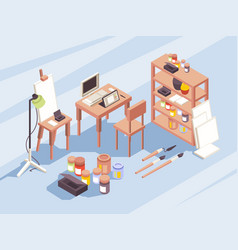 Designers drawing tools stationary items vector