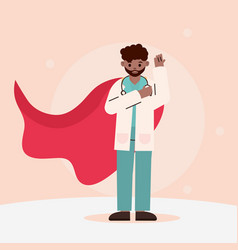 Doctor hero afro american physician with red cape vector