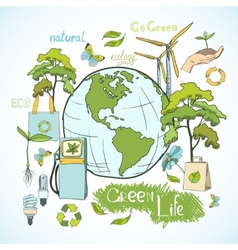 Doodles ecology and environment concept vector