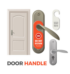 Door handles with do not disturb sign and entrance vector