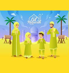 Eid mubarak greeting card cartoon muslim family vector