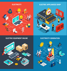 Electricity isometric concept vector