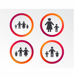 Family with two children sign parents and kids vector