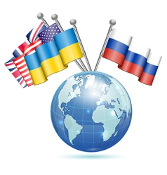 Flags of Ukraine USA UK and Russia vector