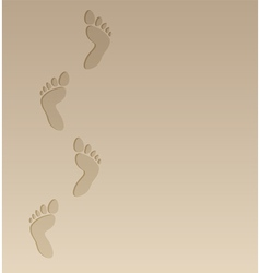 Foot steps on the sand vector