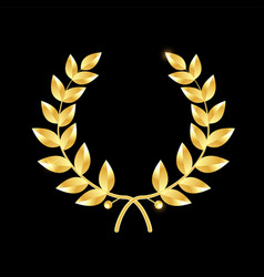 Gold laurel wreath symbol of victory and vector
