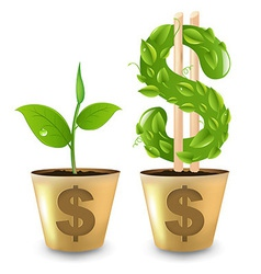 Gold pot with dollar and sprout vector