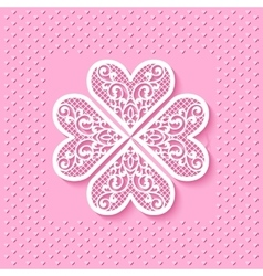 Greeting card with a flower from lace hearts vector