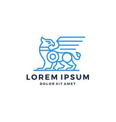 Griffin gryphon griffon logo eagle lion line art vector