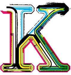 Grunge colorful font Letter K vector image