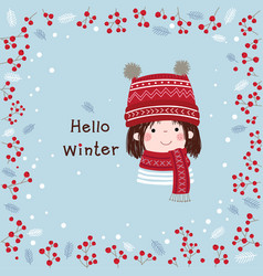 Hand drawn little girl with winter background vector