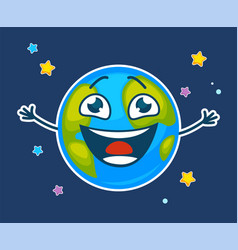 Happy earth with face and broad smile among stars vector