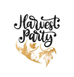 harvest party hand lettering vector image