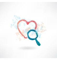 Heart magnifier grunge icon vector