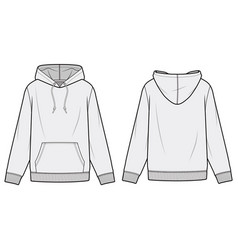Hoodie fashion flat sketch template vector