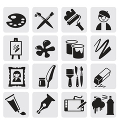 Icons set arts vector image