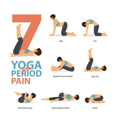 Infographic yoga poses for period pain vector