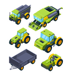 isometric of combine tractor and vector image