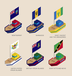 Isometric ships with flags caribbean countries vector