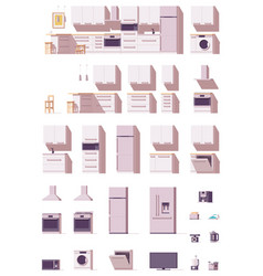 Kitchen equipment and furniture set vector