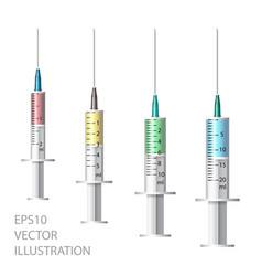 medical syringe set of disposable plastic vector image