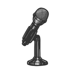 microphone device sketch engraving vector image