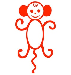 monkey red vector image