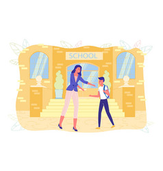 Mother takes child or picks up son after school vector