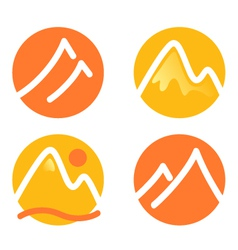 Mountain icons set isolated on white - orange vector
