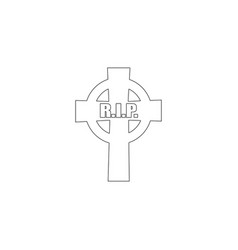 old gravestone ancient rip flat icon vector image