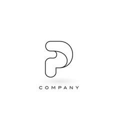 p monogram letter logo with thin black monogram vector image