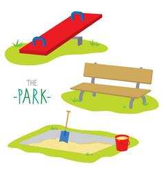 Park bench activity kid relax play cartoon vector