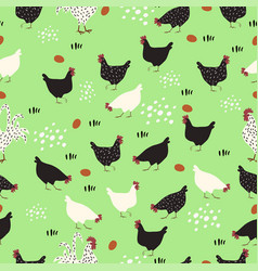 pattern with hens roosters and eggs on a green vector image