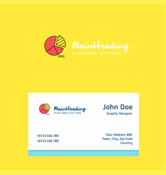 pie chart logo design with business card template vector image