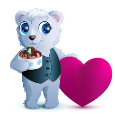 pretty white bear holds basket ice cream and red vector image