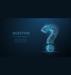 question mark 3d abstract on dark blue vector image