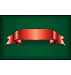 Red ribbon satin bow banner green vector