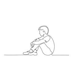 sad young boy teenager sitting alone one line vector image